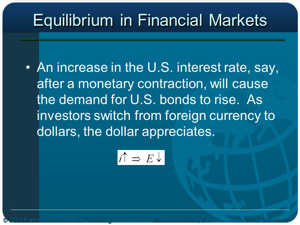 © 2003 Prentice Hall Business PublishingMacroeconomics, 3/e Olivier Blanchard Equilibrium in Financial Markets An increase in the U.S.