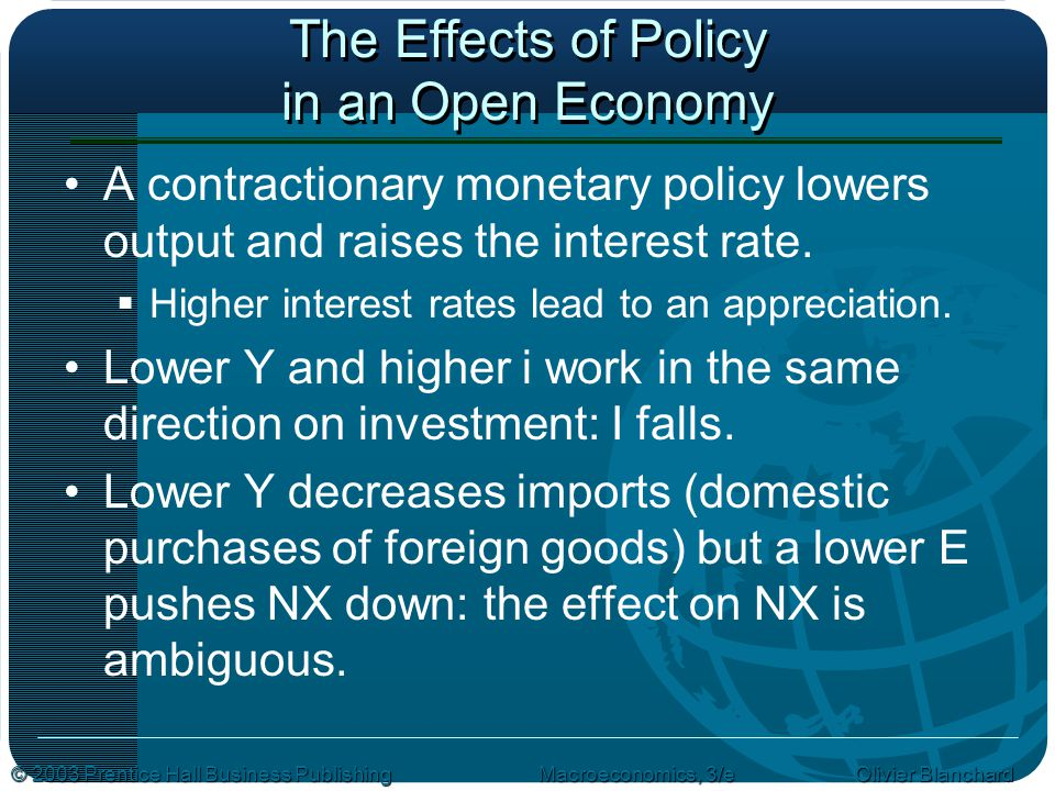 © 2003 Prentice Hall Business PublishingMacroeconomics, 3/e Olivier Blanchard The Effects of Policy in an Open Economy A contractionary monetary policy lowers output and raises the interest rate.