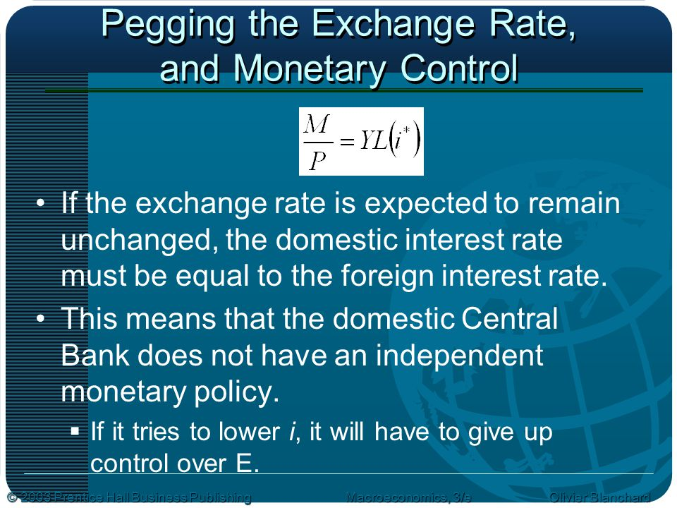 © 2003 Prentice Hall Business PublishingMacroeconomics, 3/e Olivier Blanchard Pegging the Exchange Rate, and Monetary Control If the exchange rate is expected to remain unchanged, the domestic interest rate must be equal to the foreign interest rate.