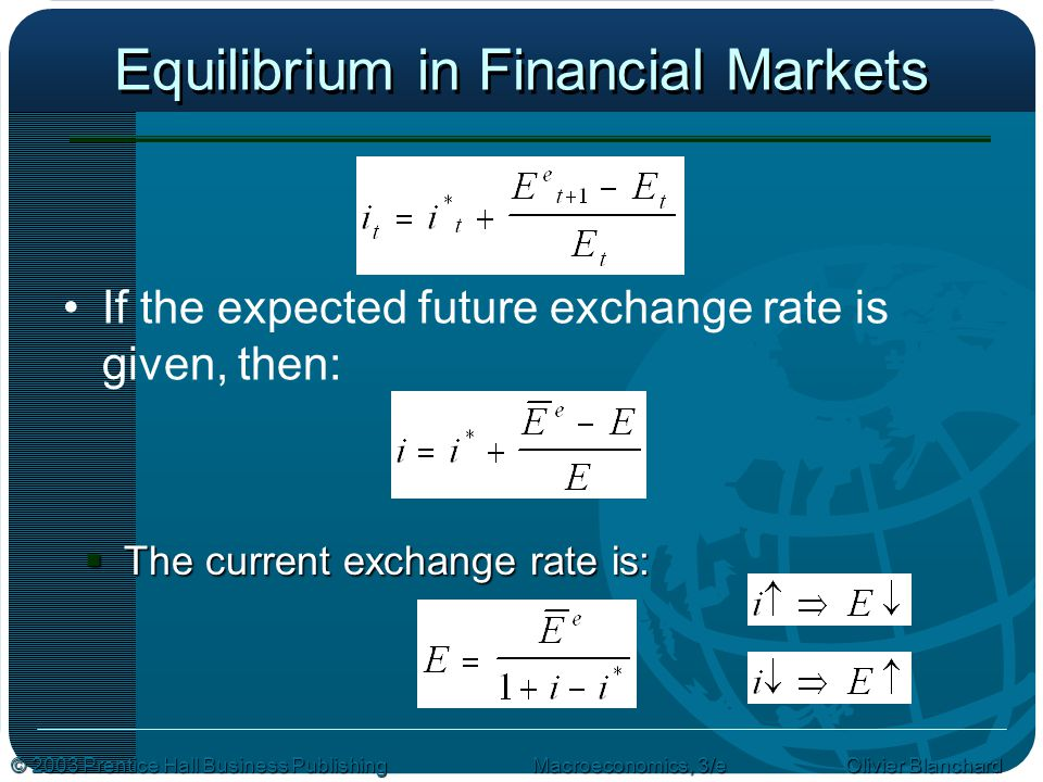 © 2003 Prentice Hall Business PublishingMacroeconomics, 3/e Olivier Blanchard Equilibrium in Financial Markets If the expected future exchange rate is given, then:  The current exchange rate is: