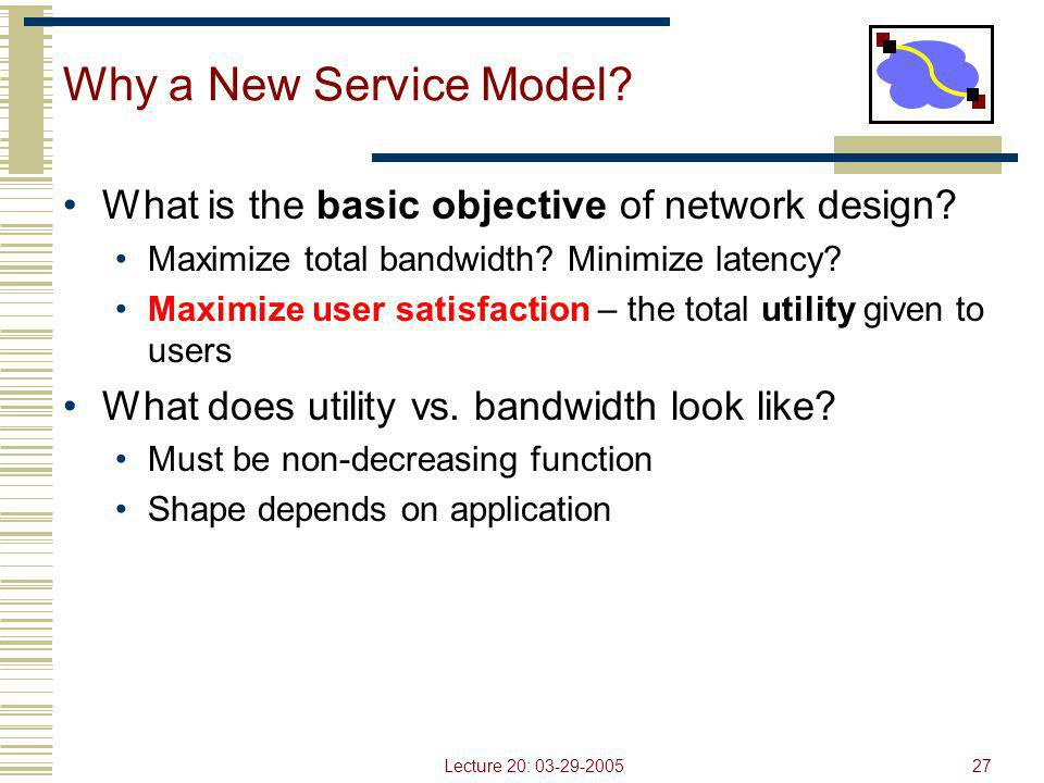 Lecture 20: 03-29-200527 Why a New Service Model? What is the basic objective of network design? Maximize total bandwidth? Minimize latency? Maximize