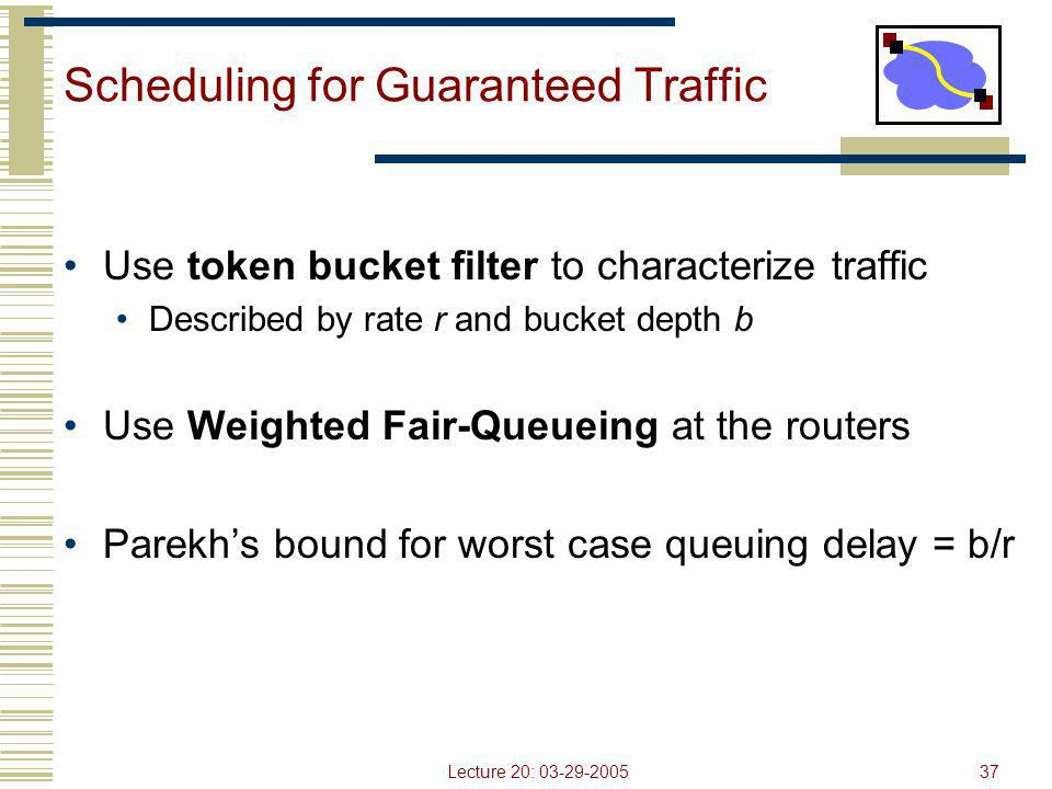 Lecture 20: 03-29-200537 Scheduling for Guaranteed Traffic Use token bucket filter to characterize traffic Described by rate r and bucket depth b Use