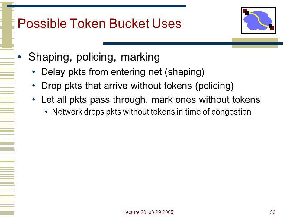 Lecture 20: 03-29-200550 Possible Token Bucket Uses Shaping, policing, marking Delay pkts from entering net (shaping) Drop pkts that arrive without to