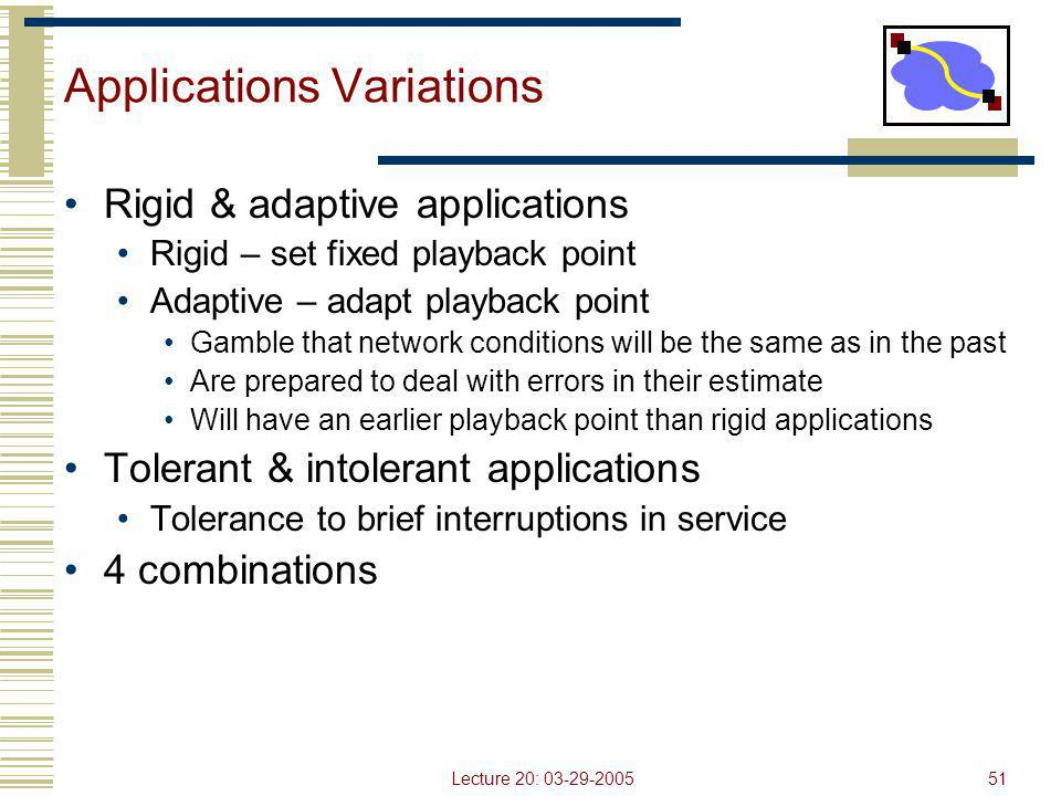Lecture 20: 03-29-200551 Applications Variations Rigid & adaptive applications Rigid – set fixed playback point Adaptive – adapt playback point Gamble