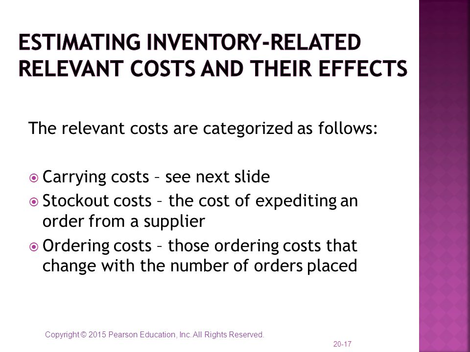 Copyright © 2015 Pearson Education, Inc. All Rights Reserved. The relevant costs are categorized as follows:  Carrying costs – see next slide  Stock