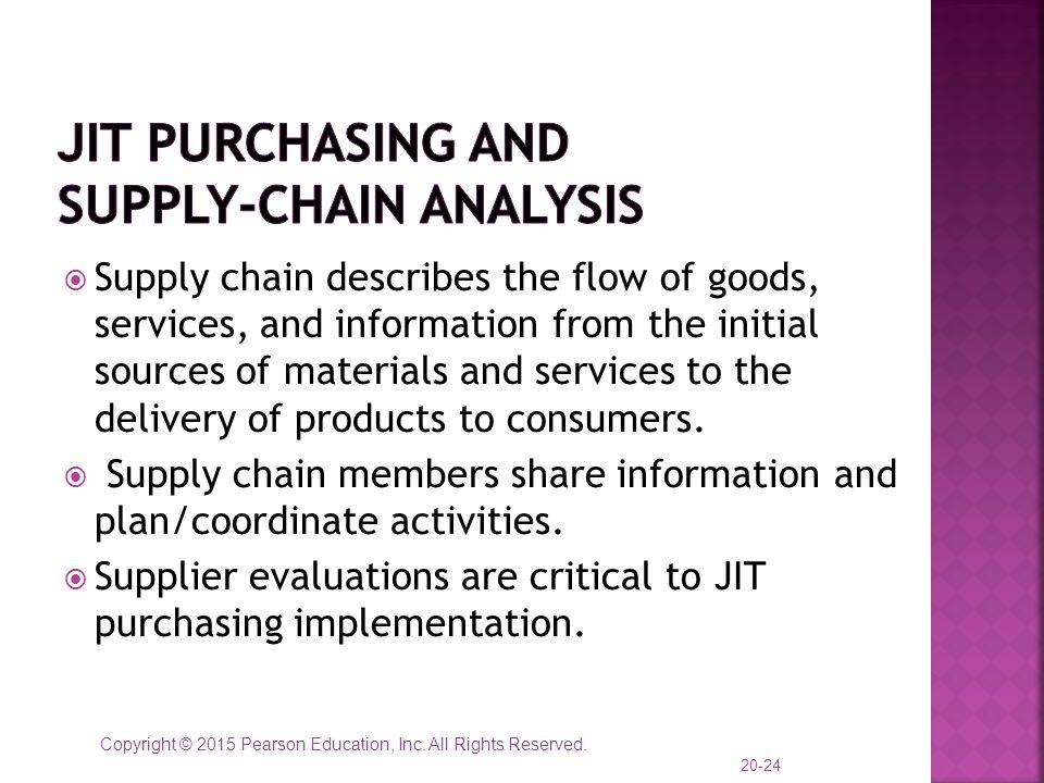Copyright © 2015 Pearson Education, Inc. All Rights Reserved.  Supply chain describes the flow of goods, services, and information from the initial s