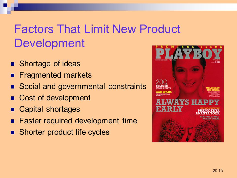20-15 Factors That Limit New Product Development Shortage of ideas Fragmented markets Social and governmental constraints Cost of development Capital shortages Faster required development time Shorter product life cycles
