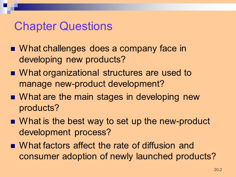 20-2 Chapter Questions What challenges does a company face in developing new products.
