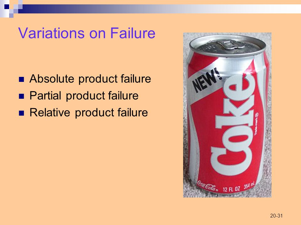 20-31 Variations on Failure Absolute product failure Partial product failure Relative product failure