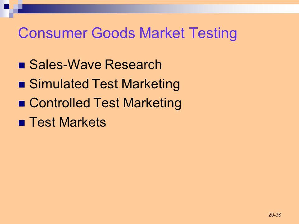 20-38 Consumer Goods Market Testing Sales-Wave Research Simulated Test Marketing Controlled Test Marketing Test Markets