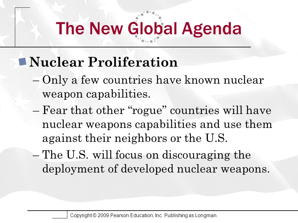Copyright © 2009 Pearson Education, Inc. Publishing as Longman. The New Global Agenda Nuclear Proliferation –Only a few countries have known nuclear w
