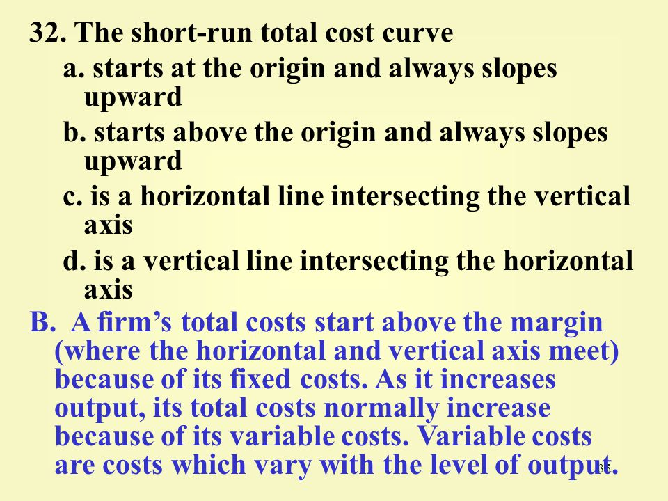 35 32.The short-run total cost curve a. starts at the origin and always slopes upward b.