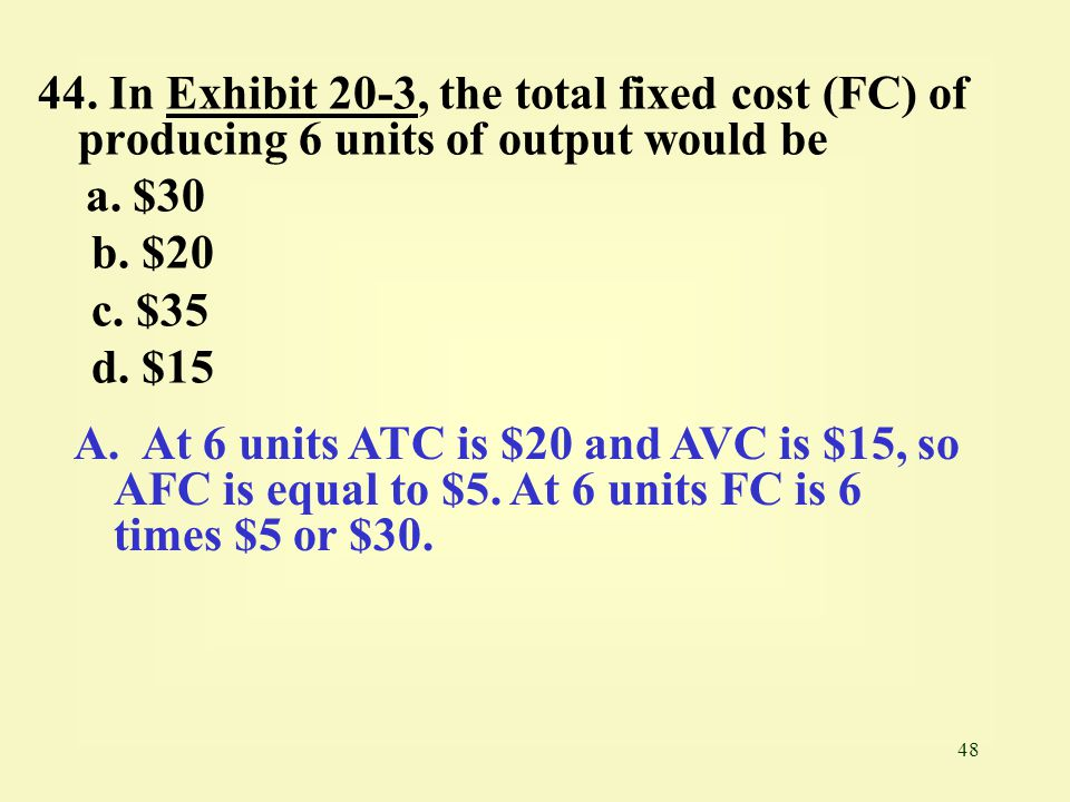48 44. In Exhibit 20-3, the total fixed cost (FC) of producing 6 units of output would beExhibit 20-3 a. $30 b. $20 c. $35 d. $15 A. At 6 units ATC is