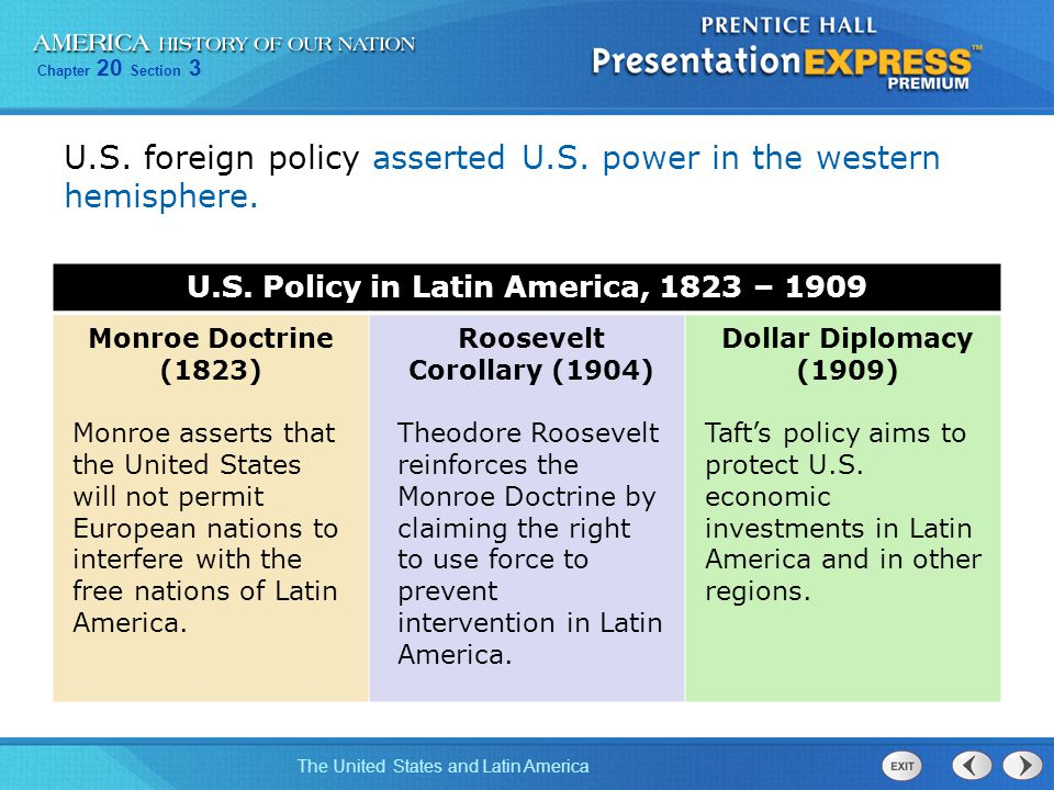 Chapter 20 Section 3 The United States and Latin America U.S. foreign policy asserted U.S. power in the western hemisphere. U.S. Policy in Latin Ameri