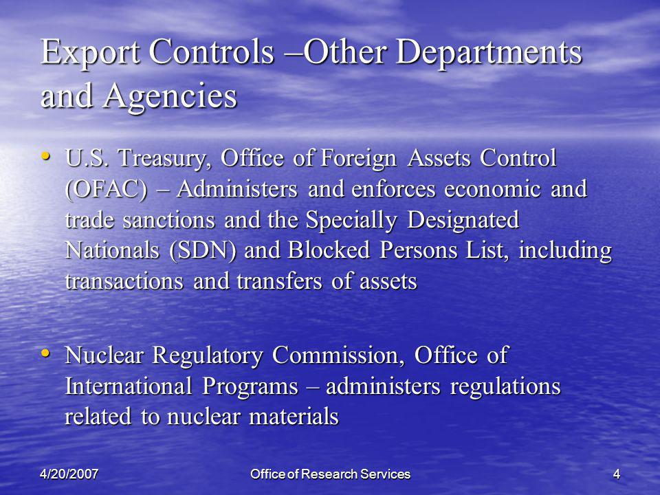 4/20/2007Office of Research Services15 Export Controls - Related Laws - USA Patriot Act of 2001 - Public Health Security and Bioterrorism Preparedness and Response Act of 2002 Restrictions on possession, use and access to biological agents, toxins and delivery systems Restrictions on possession, use and access to biological agents, toxins and delivery systems Persons defined as restricted cannot work with covered materials.