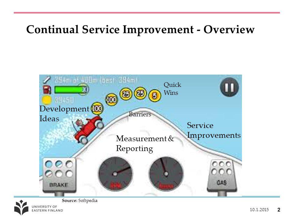 Continual Service Improvement - Overview 10.1.2015 2 Source: Softpedia Quick Wins Service Improvements Development Ideas Measurement & Reporting Barriers