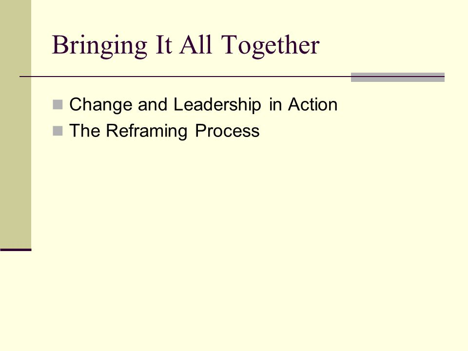 Change and Leadership in Action The Reframing Process