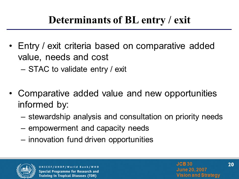 20 JCB 30 June 20, 2007 Vision and Strategy Determinants of BL entry / exit Entry / exit criteria based on comparative added value, needs and cost –ST