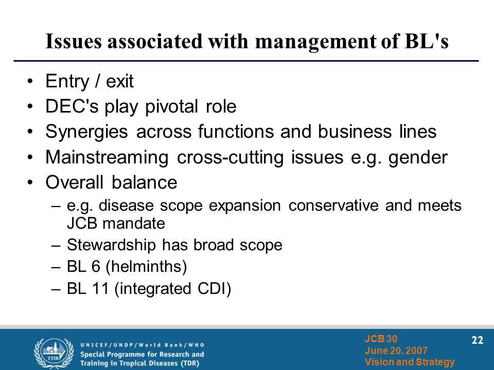 22 JCB 30 June 20, 2007 Vision and Strategy Issues associated with management of BL's Entry / exit DEC's play pivotal role Synergies across functions