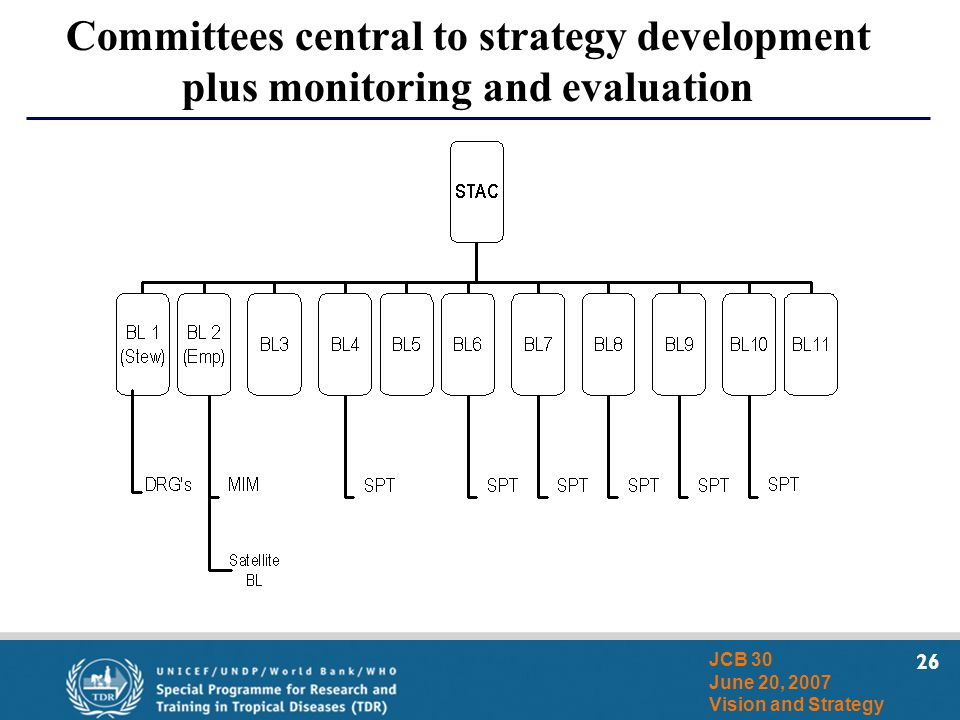 26 JCB 30 June 20, 2007 Vision and Strategy Committees central to strategy development plus monitoring and evaluation