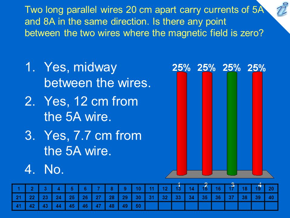 Two long parallel wires 20 cm apart carry currents of 5A and 8A in the same direction. Is there any point between the two wires where the magnetic fie
