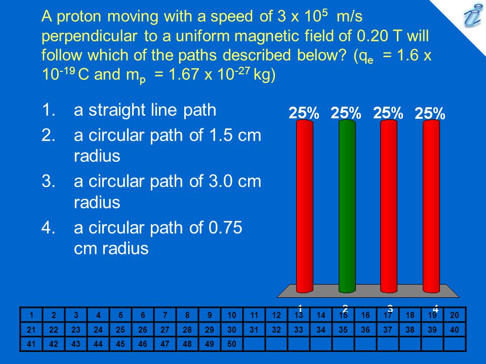 A proton moving with a speed of 3 x 10 5 m/s perpendicular to a uniform magnetic field of 0.20 T will follow which of the paths described below? (q e