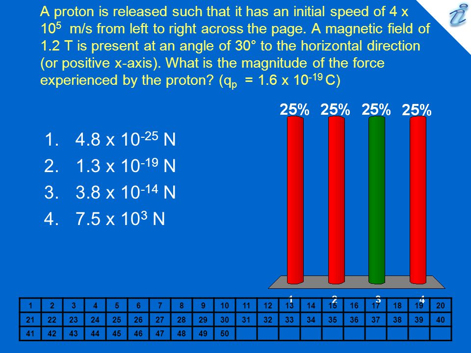 A proton is released such that it has an initial speed of 4 x 10 5 m/s from left to right across the page. A magnetic field of 1.2 T is present at an