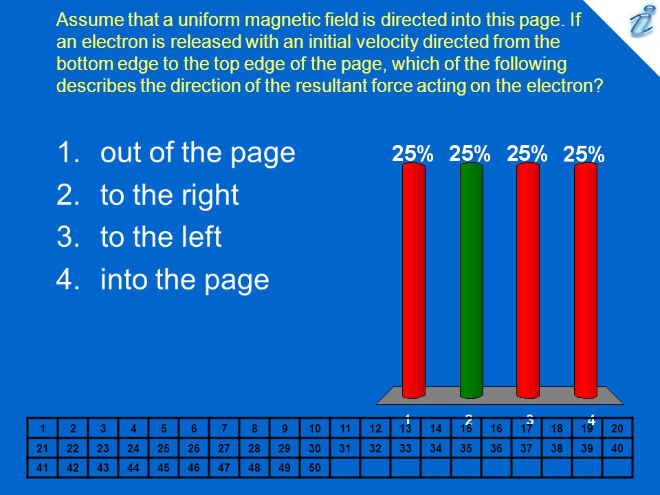 Assume that a uniform magnetic field is directed into this page. If an electron is released with an initial velocity directed from the bottom edge to