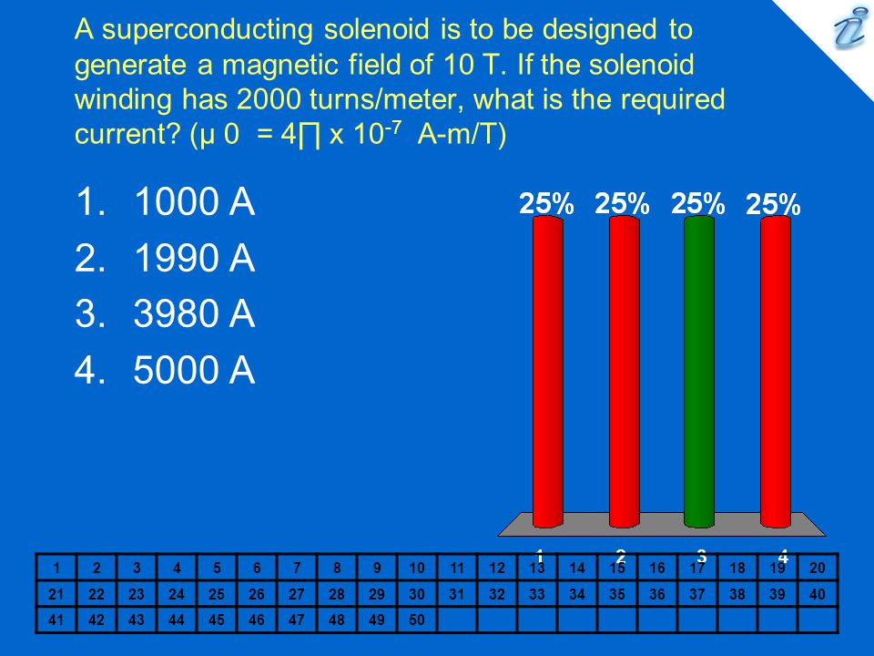 A superconducting solenoid is to be designed to generate a magnetic field of 10 T. If the solenoid winding has 2000 turns/meter, what is the required