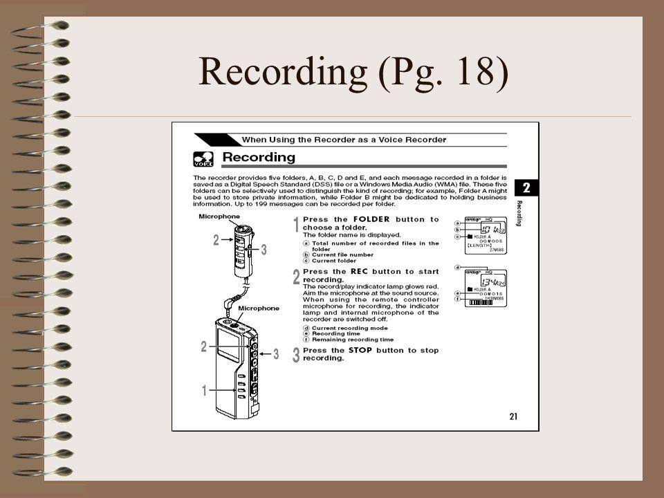Recording (Pg. 18)