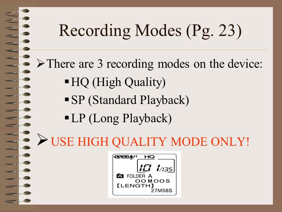 Recording Modes (Pg.