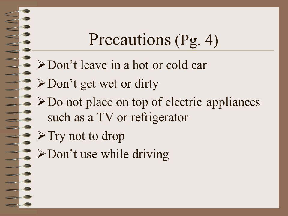 Precautions (Pg.