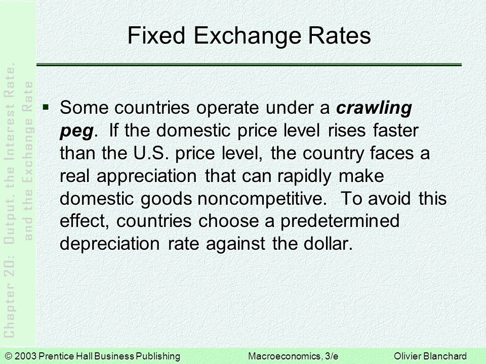 © 2003 Prentice Hall Business PublishingMacroeconomics, 3/e Olivier Blanchard Fixed Exchange Rates  Some countries operate under a crawling peg.