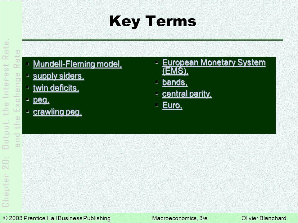 © 2003 Prentice Hall Business PublishingMacroeconomics, 3/e Olivier Blanchard Key Terms  Mundell-Fleming model, Mundell-Fleming model, Mundell-Fleming model,  supply siders, supply siders, supply siders,  twin deficits, twin deficits, twin deficits,  peg, peg,  crawling peg, crawling peg, crawling peg,  European Monetary System (EMS), European Monetary System (EMS), European Monetary System (EMS),  bands, bands,  central parity, central parity, central parity,  Euro, Euro,