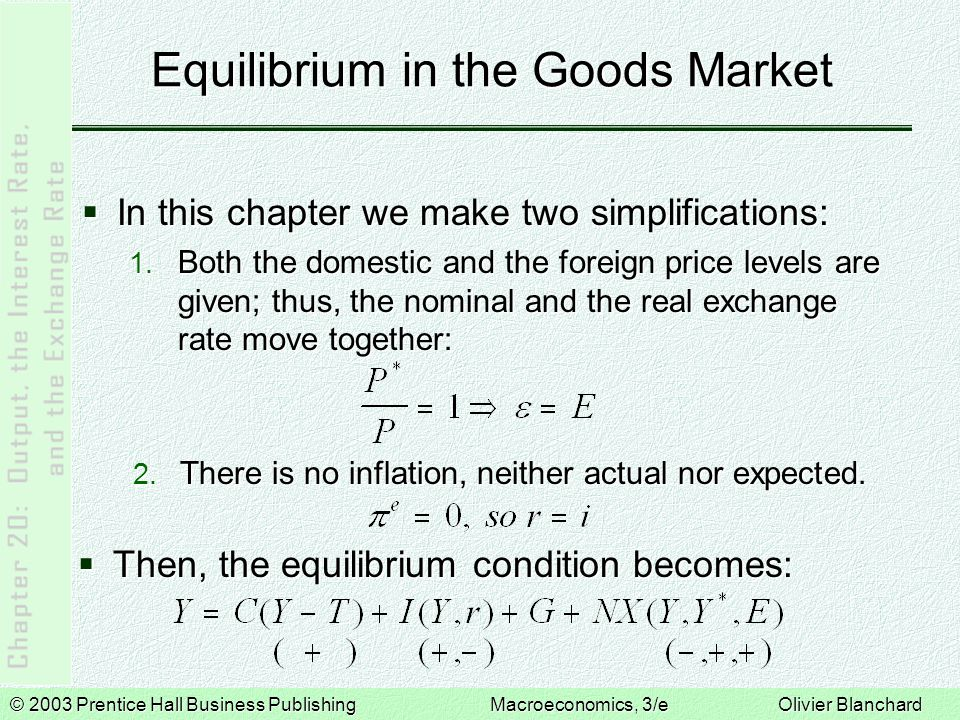 © 2003 Prentice Hall Business PublishingMacroeconomics, 3/e Olivier Blanchard Equilibrium in Financial markets Domestic Bonds Versus Foreign Bonds  What combination of domestic and foreign bonds should financial investors choose in order to maximize expected returns.