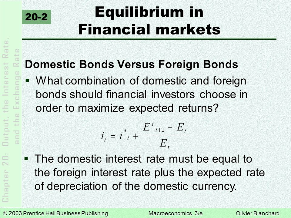 © 2003 Prentice Hall Business PublishingMacroeconomics, 3/e Olivier Blanchard Equilibrium in Financial Markets  If the expected future exchange rate is given, then:  The current exchange rate is: