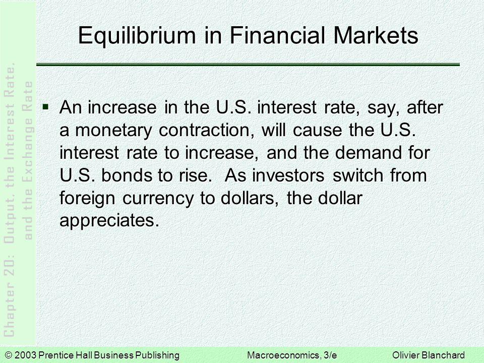 © 2003 Prentice Hall Business PublishingMacroeconomics, 3/e Olivier Blanchard Equilibrium in Financial Markets  The more the dollar appreciates, the more investors expect it to depreciate in the future.