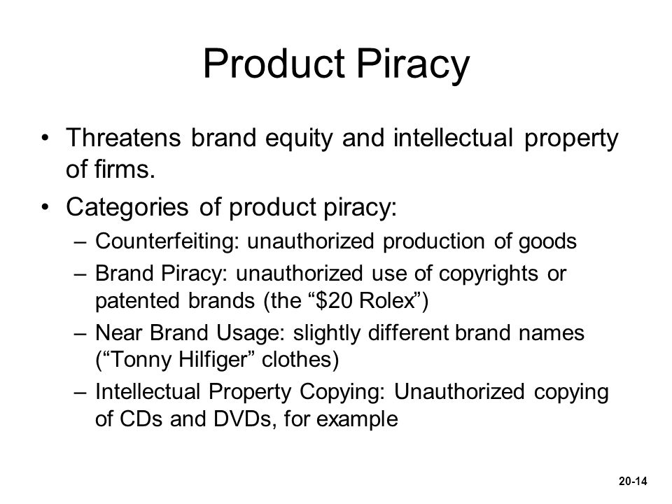 Product Piracy Threatens brand equity and intellectual property of firms. Categories of product piracy: –Counterfeiting: unauthorized production of go