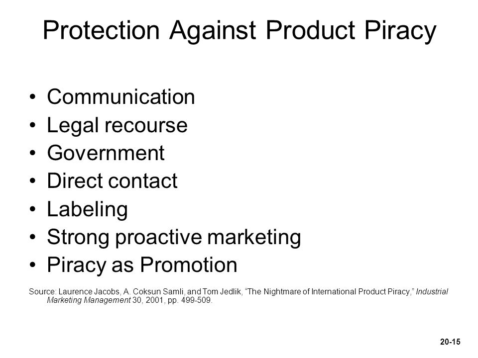 Protection Against Product Piracy Communication Legal recourse Government Direct contact Labeling Strong proactive marketing Piracy as Promotion Sourc