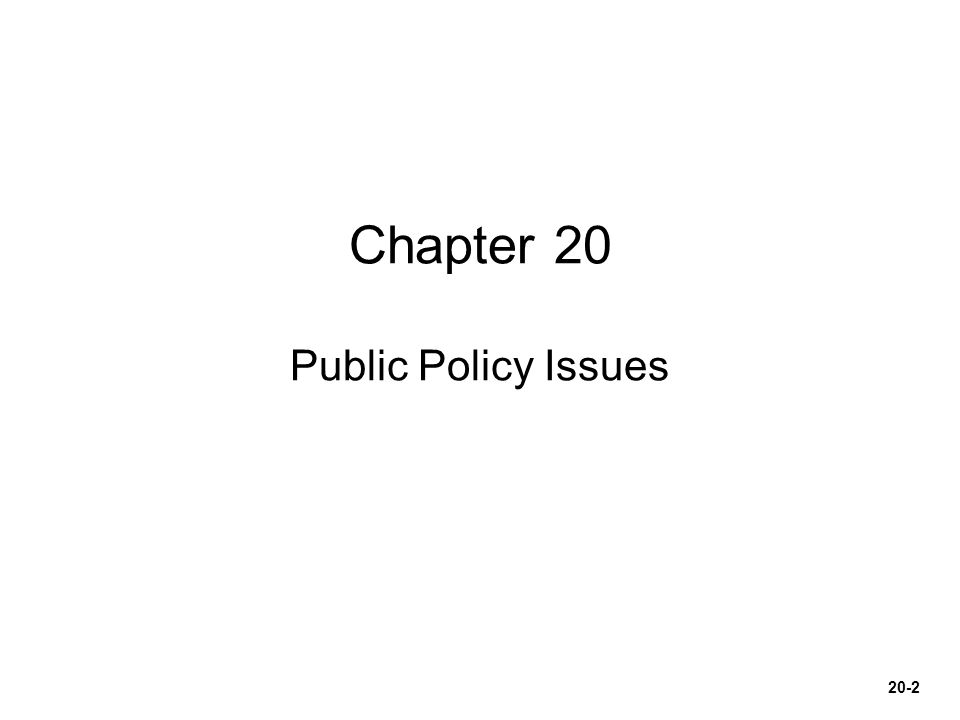 Chapter 20 Public Policy Issues 20-2