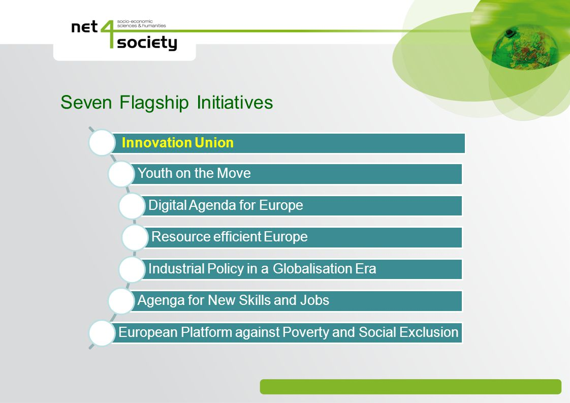 Seven Flagship Initiatives Innovation Union Youth on the Move Digital Agenda for Europe Resource efficient Europe Industrial Policy in a Globalisation Era Agenga for New Skills and Jobs European Platform against Poverty and Social Exclusion