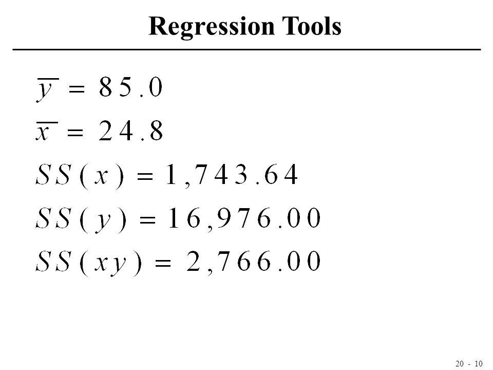 20 - 10 Regression Tools