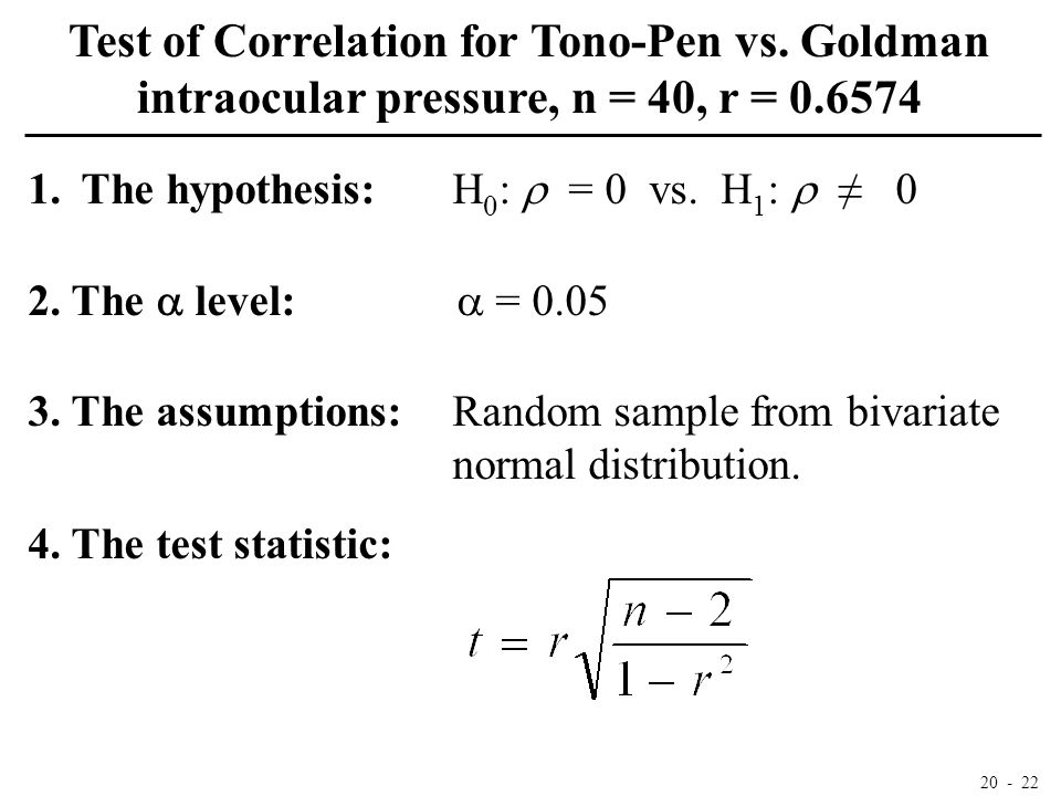 20 - 22 Test of Correlation for Tono-Pen vs. Goldman intraocular pressure, n = 40, r = 0.6574 1.The hypothesis:H 0 :  = 0 vs. H 1 :  ≠ 0 2. The  le