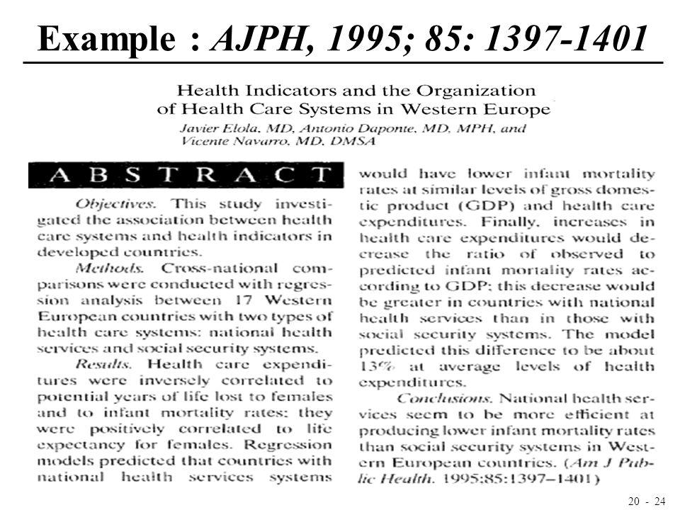 20 - 24 Example : AJPH, 1995; 85: 1397-1401