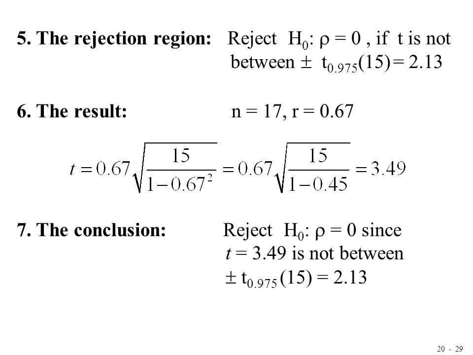 20 - 29 5. The rejection region: Reject H 0 :  = 0, if t is not between  t 0.975 (15) = 2.13 6. The result: n = 17, r = 0.67 7. The conclusion: Reje