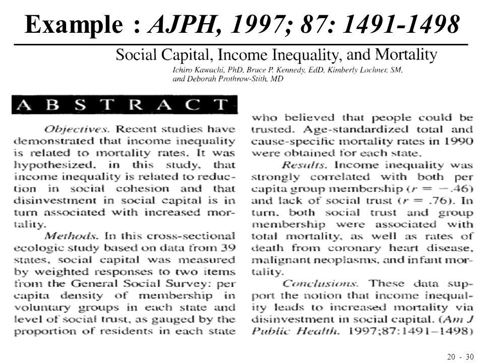 20 - 30 Example : AJPH, 1997; 87: 1491-1498