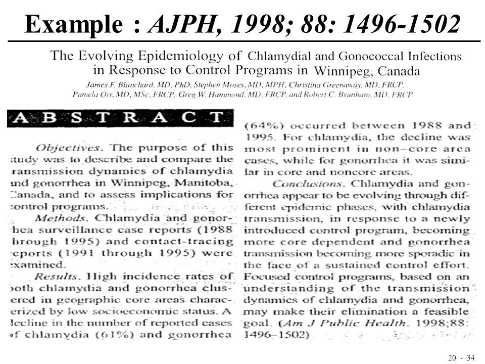 20 - 34 Example : AJPH, 1998; 88: 1496-1502