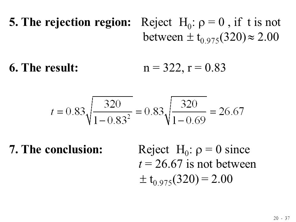20 - 37 5. The rejection region: Reject H 0 :  = 0, if t is not between  t 0.975 (320)  2.00 6. The result: n = 322, r = 0.83 7. The conclusion: Re
