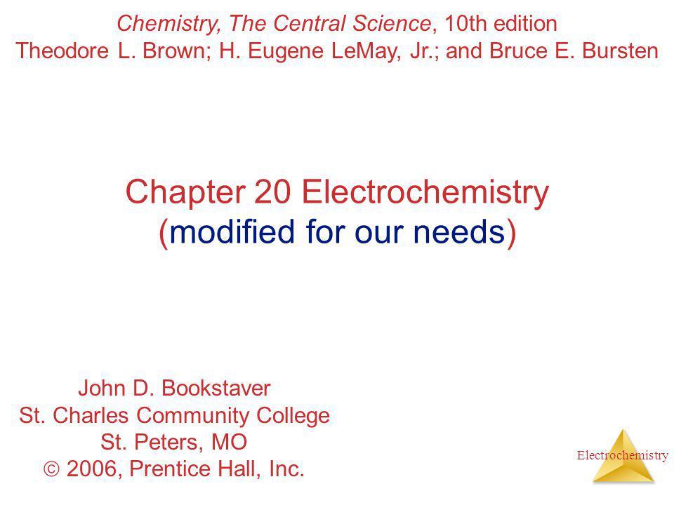 Electrochemistry Nernst Equation Dividing both sides by −nF, we get the Nernst equation: E = E  − RT nF ln Q or, using base-10 logarithms, E = E  − 2.303 RT nF log Q