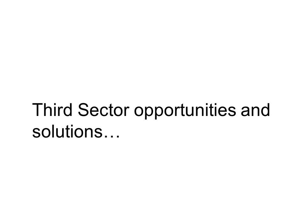 Third Sector opportunities and solutions…